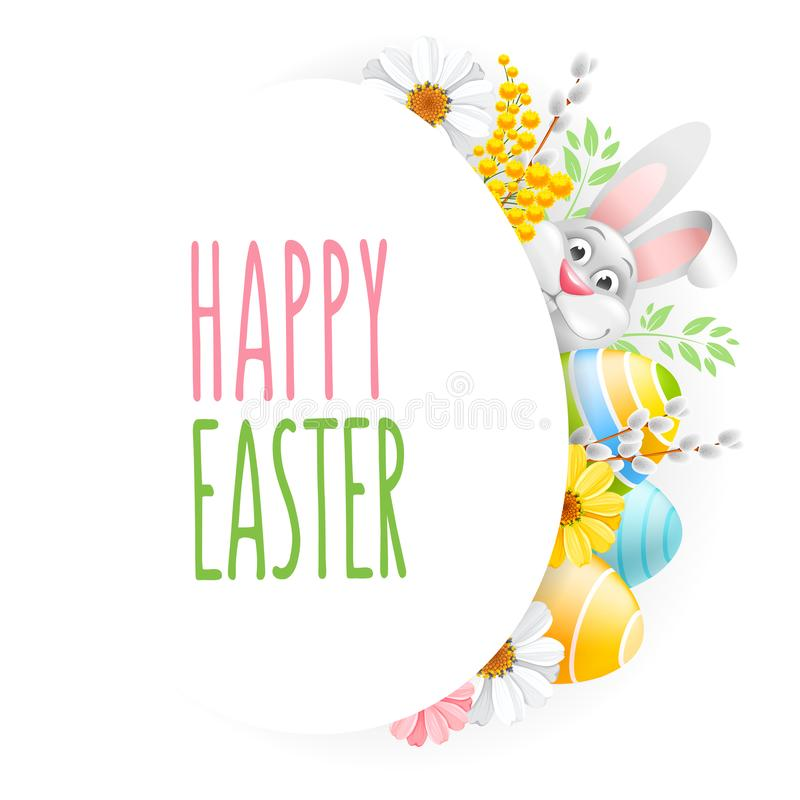 Szczęśliwy Wielkanocny powitanie Z jajkami, kwiatami I królikiem, ilustracji