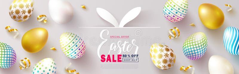 Szczęśliwy Wielkanocny sprzedaż sztandar Piękny tło z kolorowymi jajkami i Złotą serpentyną Wektorowa ilustracja dla strony inter ilustracja wektor