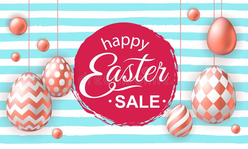 Szczęśliwy Wielkanocny sztandar z realistycznymi różowymi złotymi jajkami ilustracja wektor