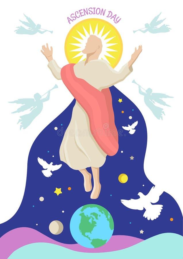Szczęśliwy wniebowstąpienie dzień jezus chrystus royalty ilustracja