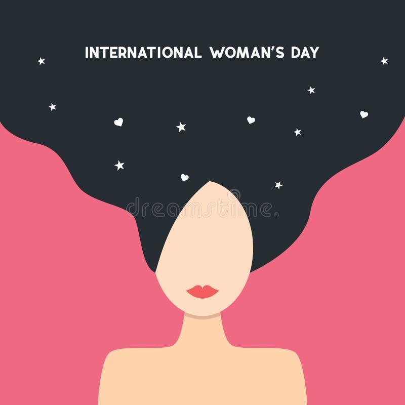 Szczęśliwy Women&-x27; s dnia 8th Marcowa ilustracja, piękna dziewczyny twarz Sieć sztandar eps10 kwiatów pomarańcze wzoru stebno ilustracja wektor