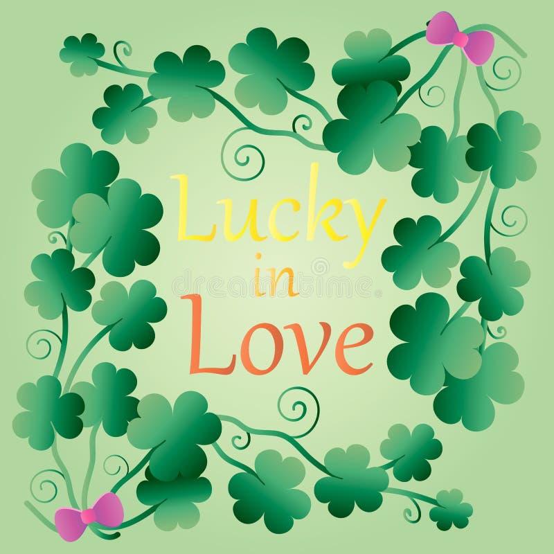 Szczęsliwa koniczyna z literowaniem Szczęsliwy w miłość plakacie z koniczyną trzy liści szczęsliwa koniczyna Skład, projekt, rama royalty ilustracja