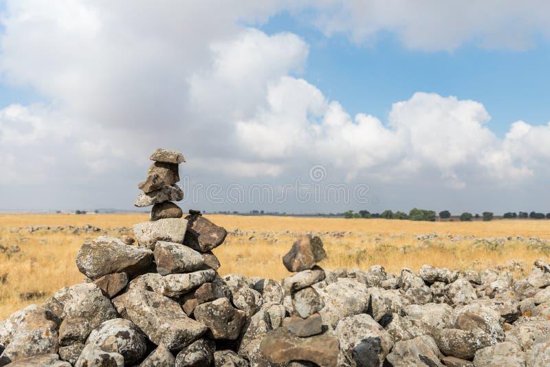 Szczątki megalityczny kompleks wcześni Brązowego wiekakoła duchy, Rujum al, Gilgal Rephaeem na Golan Hei zdjęcie royalty free