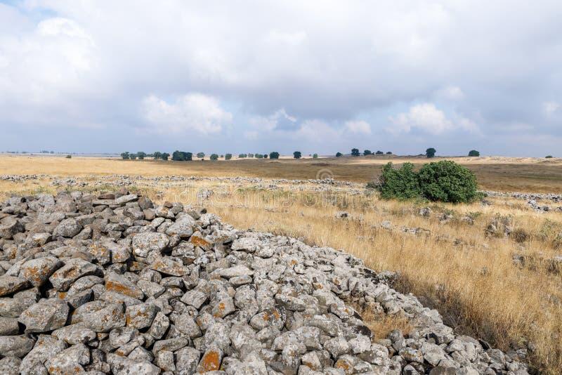 Szczątki megalityczny kompleks wcześni Brązowego wiekakoła duchy, Rujum al, Gilgal Rephaeem na Golan Hei zdjęcia stock