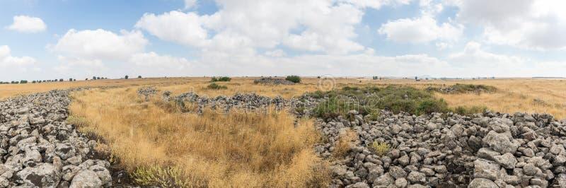 Szczątki megalityczny kompleks wcześni Brązowego wiekakoła duchy, Rujum al, Gilgal Rephaeem na Golu zdjęcia royalty free
