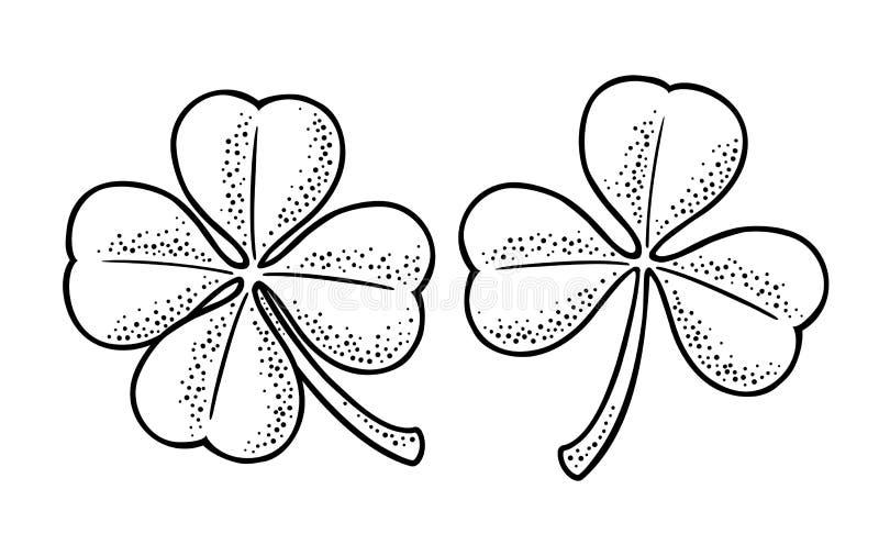Szczęścia cztery i trzy liścia koniczyna Rocznika wektorowy rytownictwo royalty ilustracja