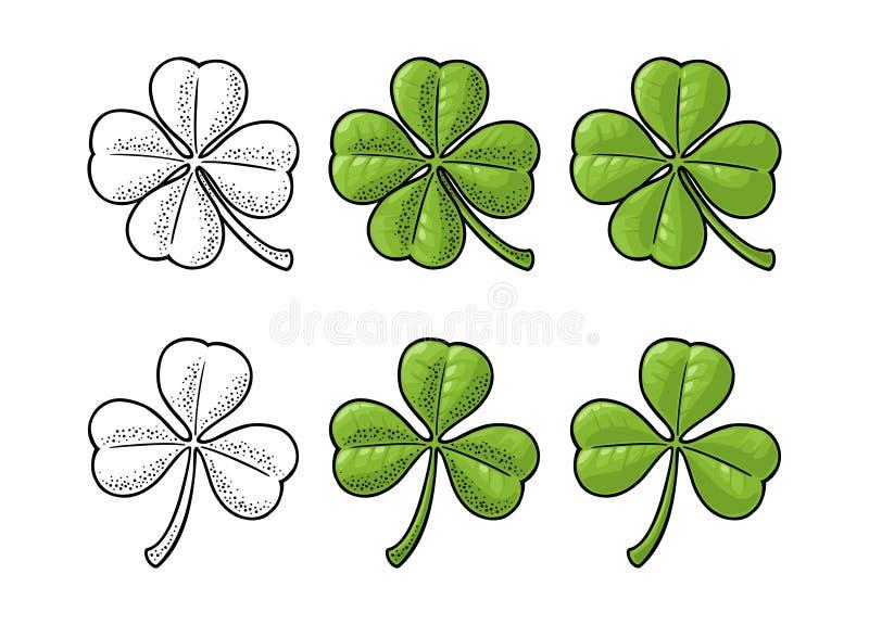 Szczęścia cztery i trzy liścia koniczyna Rocznika wektorowy rytownictwo ilustracji