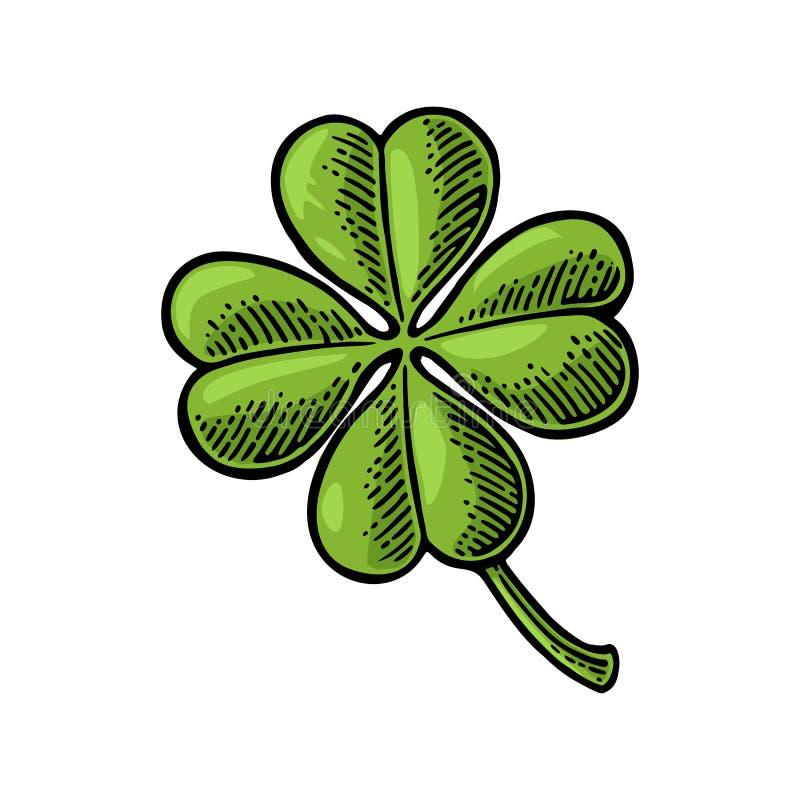 Szczęścia cztery liścia koniczyna Rocznika rytownictwa ilustracja dla ewidencyjnej grafiki, plakat, sieć ilustracji