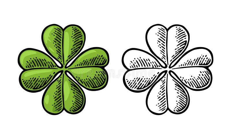 Szczęścia cztery liścia koniczyna Rocznika rytownictwa wektorowa ilustracja royalty ilustracja