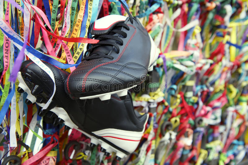 Szczęście Futbolowych butów życzenia Brazylijscy faborki Salvador Bahia zdjęcia stock