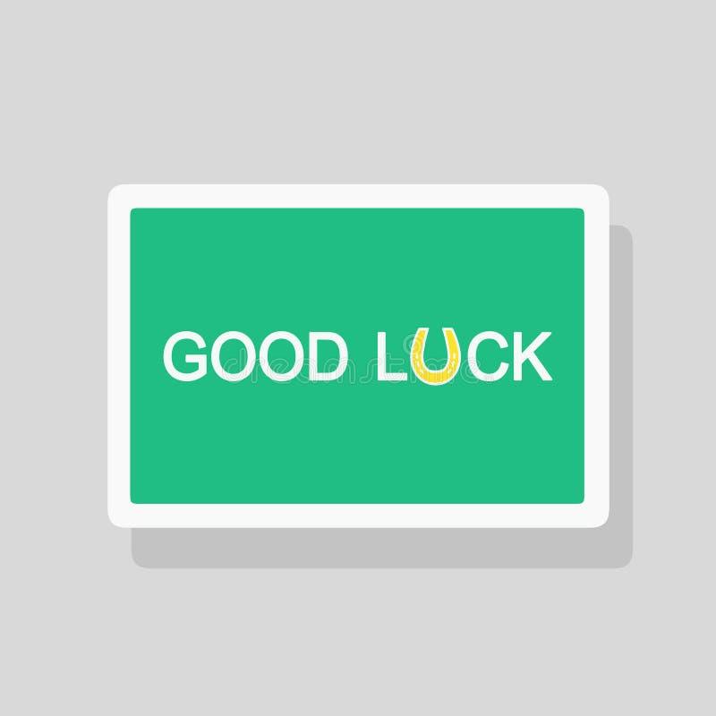 Szczęście kartka z pozdrowieniami z stylizowanym podkowa talizmanem jako list U Minimalisty styl royalty ilustracja