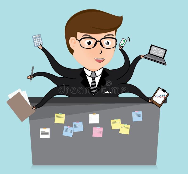 Szczęście urzędniczy pracownik, biznesowy pojęcie, wektor ilustracja wektor