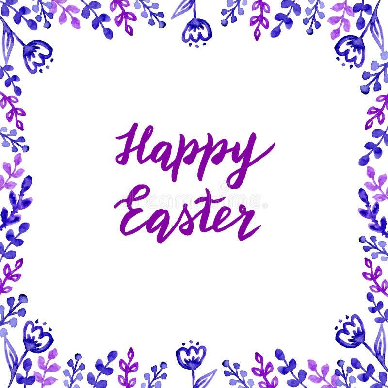 Szcz??liwa ?adna r?ka rysuj?ca Easter karta z literowaniem, akwarela li?cie i kwiaty i ilustracja wektor