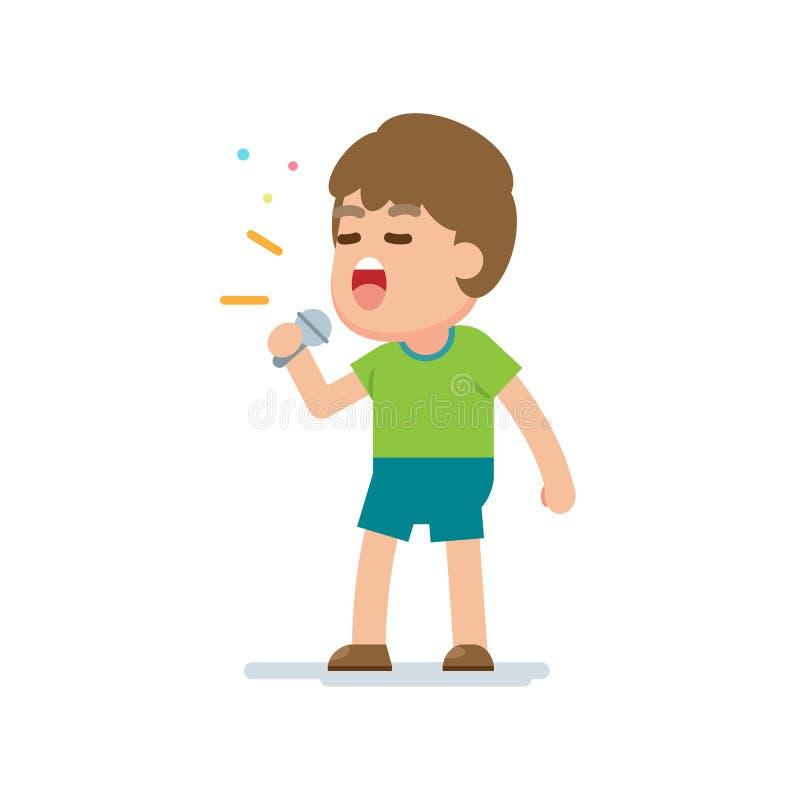 Szczęśliwa śliczna chłopiec śpiewa piosenkę, wektorowa kreskówki ilustracja ilustracja wektor
