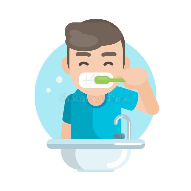 Szczęśliwa śliczna chłopiec szczotkuje zęby w łazience, Wektorowa charakter ilustracja ilustracji