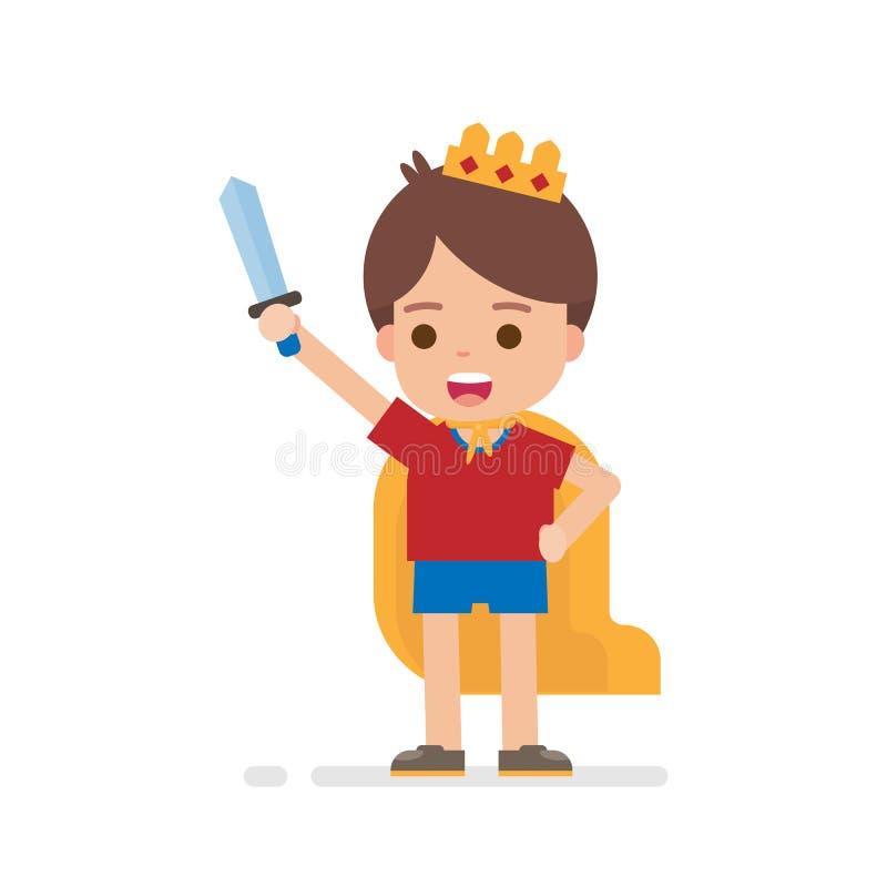 Szczęśliwa śliczna chłopiec ubiera w górę książe lub królewiątka pojęcia bawić się wokoło być bohaterem ilustracja wektor