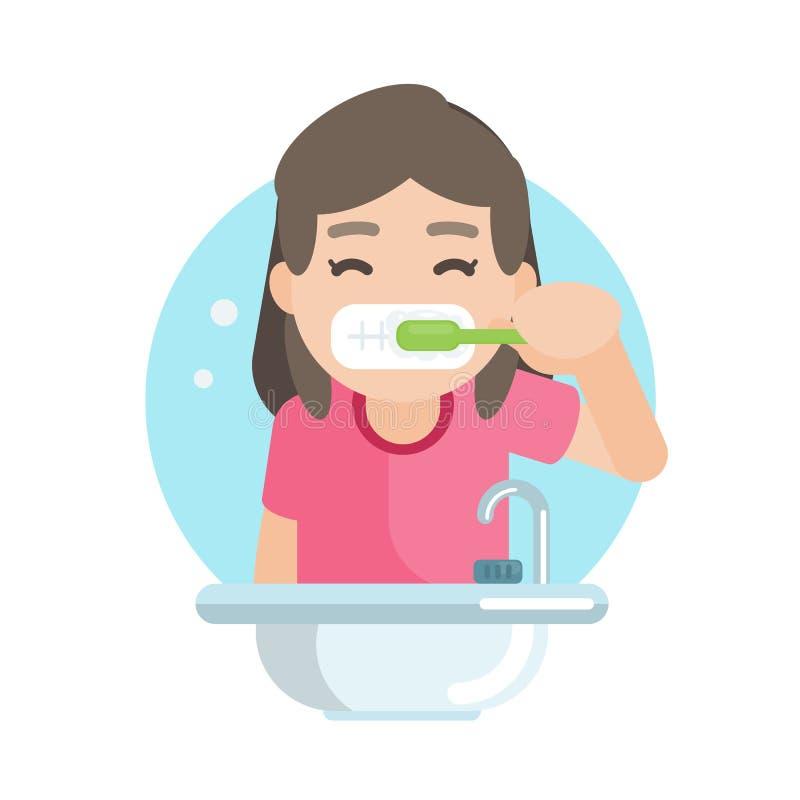 Szczęśliwa śliczna dziewczyna szczotkuje zęby w łazience, Wektorowa charakter ilustracja ilustracja wektor