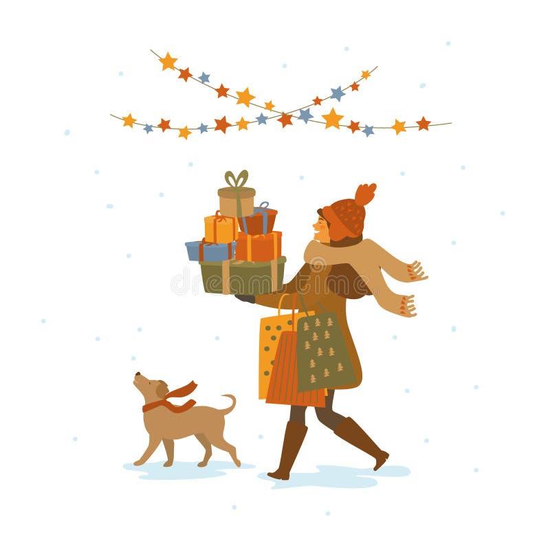 Szczęśliwa śliczna dziewczyna z psim zakupy odprowadzeniem z boże narodzenie prezentami przedstawia torby, odosobniona wektorowa  royalty ilustracja