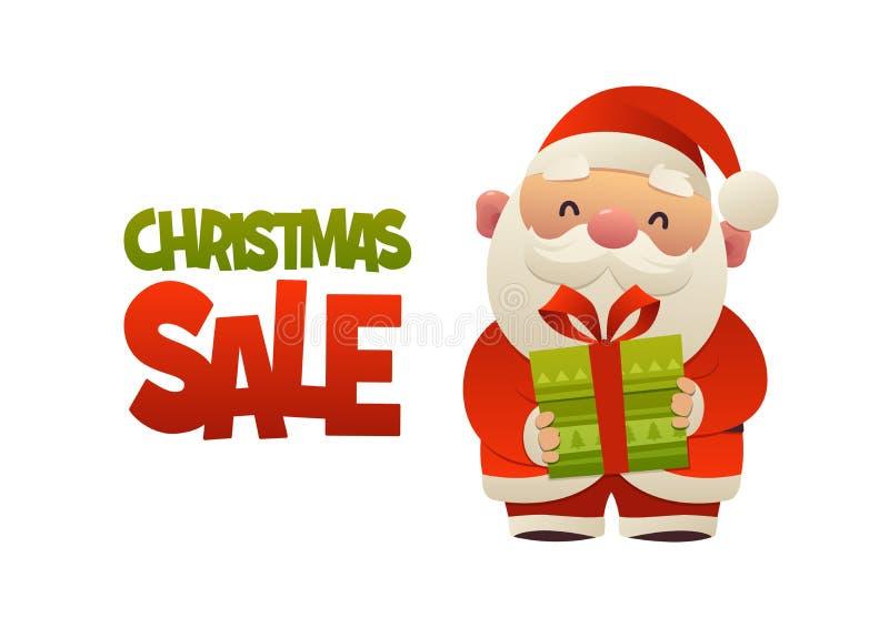 Szczęśliwa śliczna kreskówka Święty Mikołaj z prezent teraźniejszością i tekstów bożych narodzeń sprzedażą ilustracji