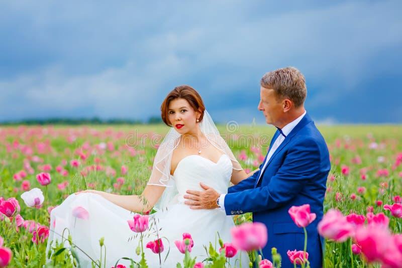 Szczęśliwa ślub para w różowym maczka polu zdjęcia royalty free