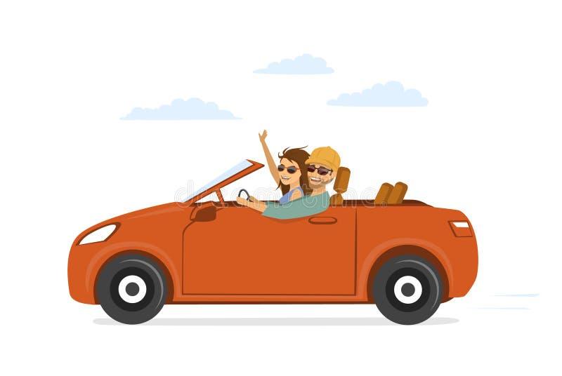 Szczęśliwa śmieszna para, mężczyzna i kobieta w miłości na roadtrip, ilustracji