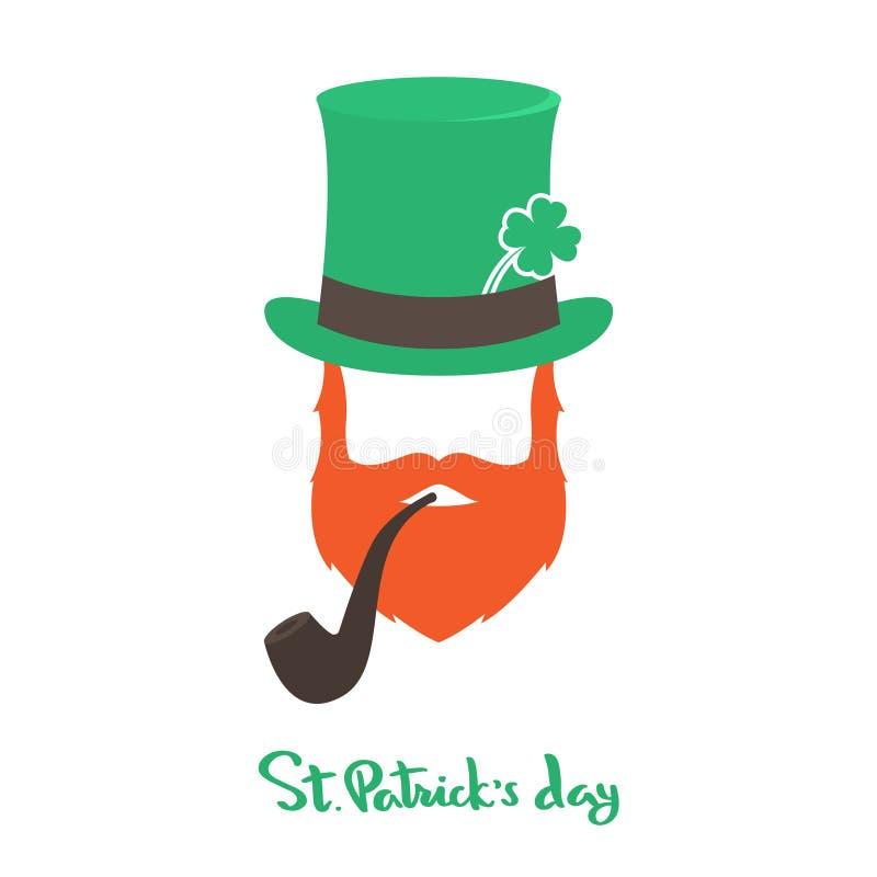 Szczęśliwa świętego Patrick ` s dnia karta z twarz irlandczykiem ilustracja wektor