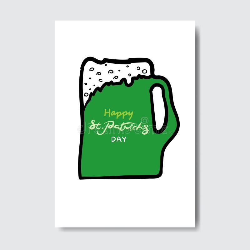 Szczęśliwa świętego Patrick s dnia ręka Rysująca Piszący list kartka z pozdrowieniami tło royalty ilustracja