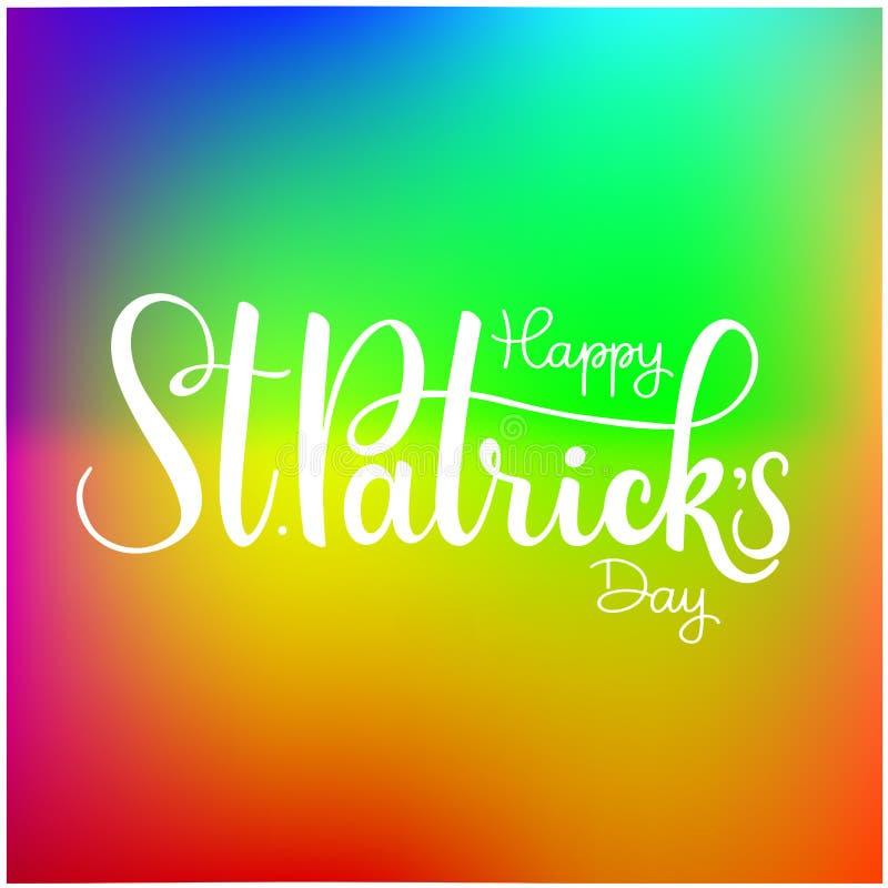 Szczęśliwa świętego Patrick ` s dnia wektoru ilustracja Irlandzki świętowanie projekt Ręka rysująca odznaka z shamrock i tęczą ilustracja wektor