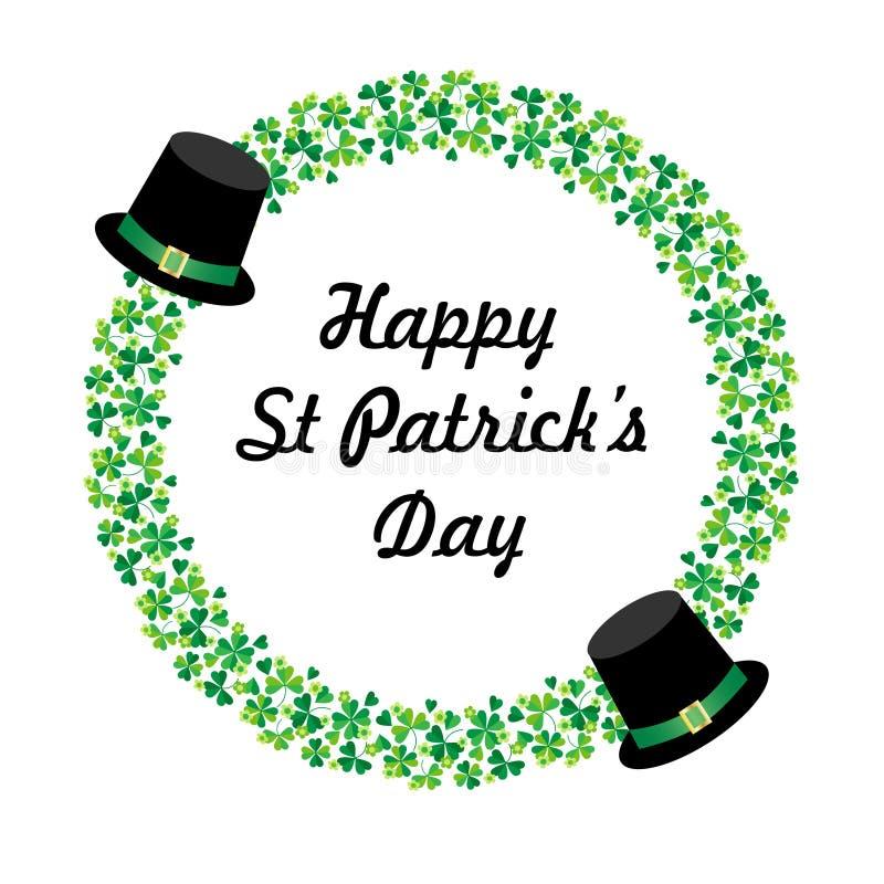 Szczęśliwa świętego Patricks dnia grafika z kapeluszami i okręgu shamrock ramą ilustracja wektor