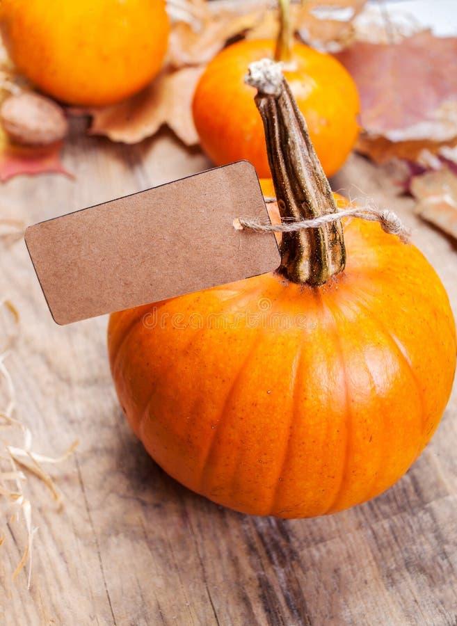 Szczęśliwa święto dziękczynienia karta z pomarańczowymi baniami p i papierem zdjęcia royalty free