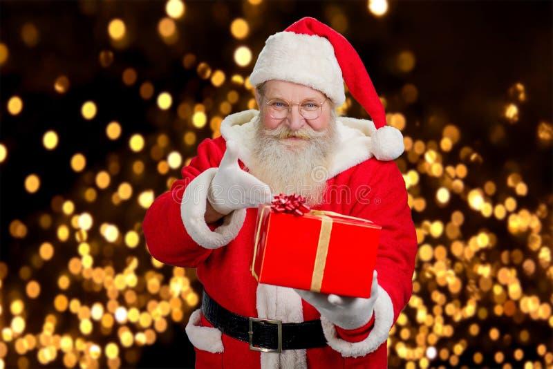 Szczęśliwa Święty Mikołaj ofiary teraźniejszość fotografia royalty free