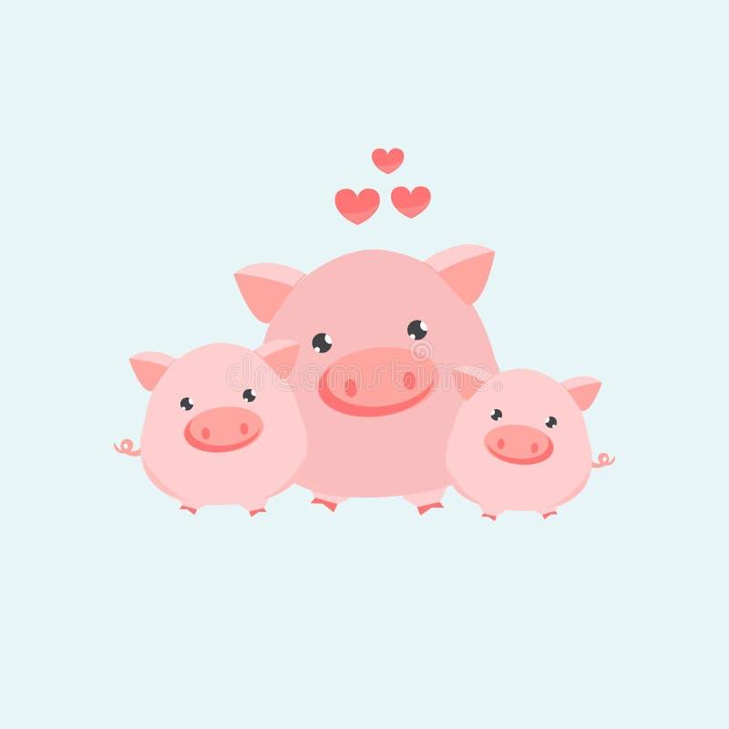 Szczęśliwa świniowata rodzina również zwrócić corel ilustracji wektora royalty ilustracja