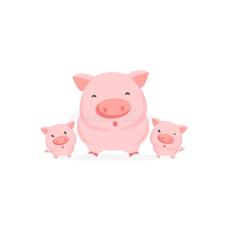 Szczęśliwa świniowata rodzina również zwrócić corel ilustracji wektora ilustracji