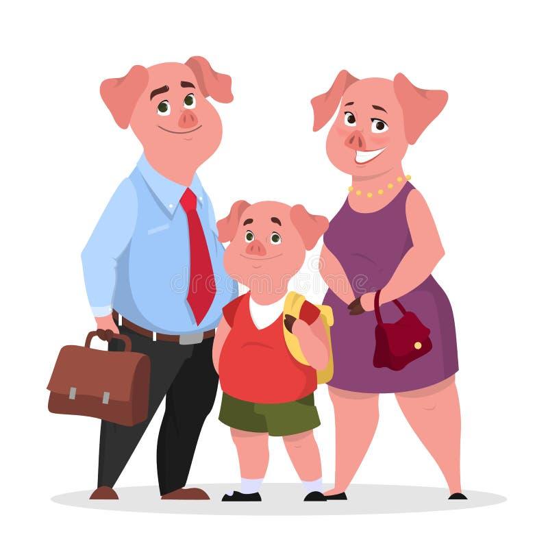 Szczęśliwa świniowata rodzina w odziewa Matka, ojciec i dziecko, ilustracja wektor