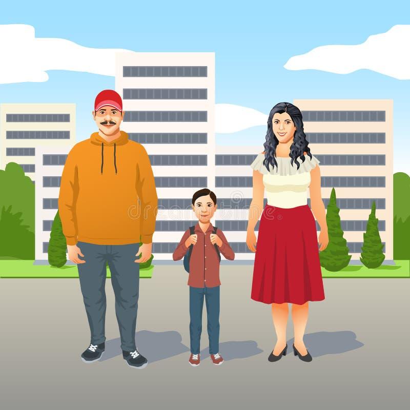 Szczęśliwa życzliwa młoda Latynoska rodzina z matką, ojcem i ich młodym synem, royalty ilustracja