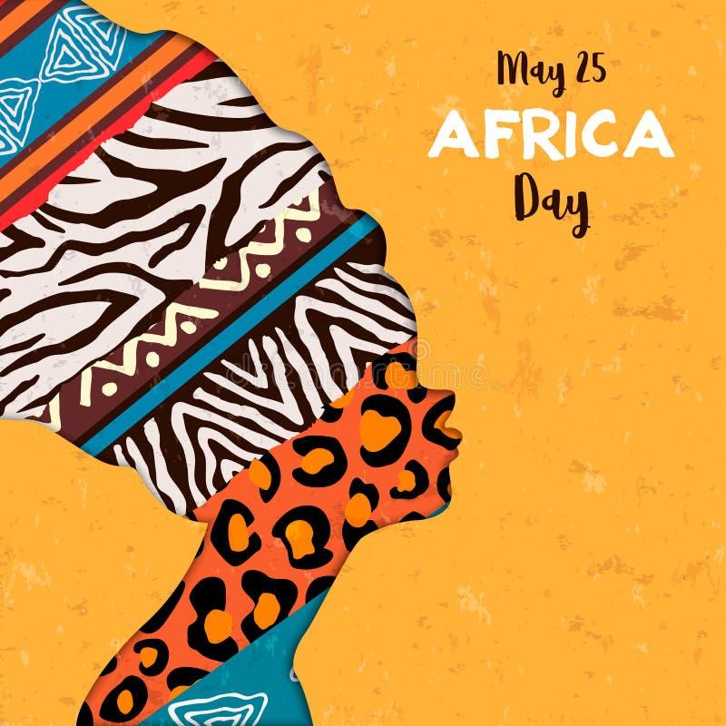 Szczęśliwa Afryka dnia karta zwierzęca druk kobieta royalty ilustracja