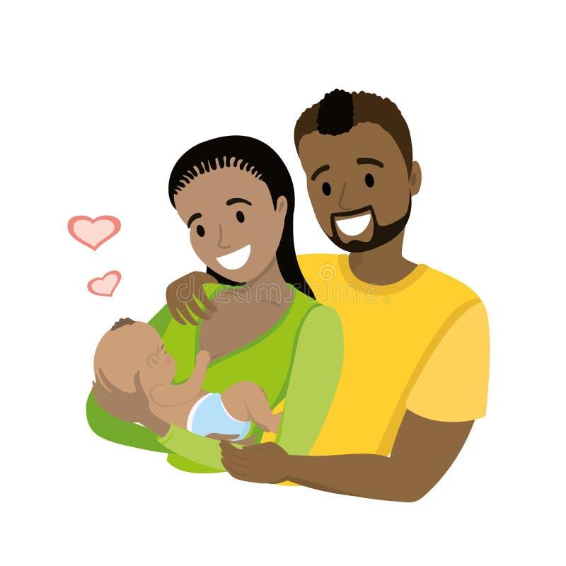 Szczęśliwa amerykanin afrykańskiego pochodzenia para małżeńska z nowonarodzonym dzieckiem, royalty ilustracja