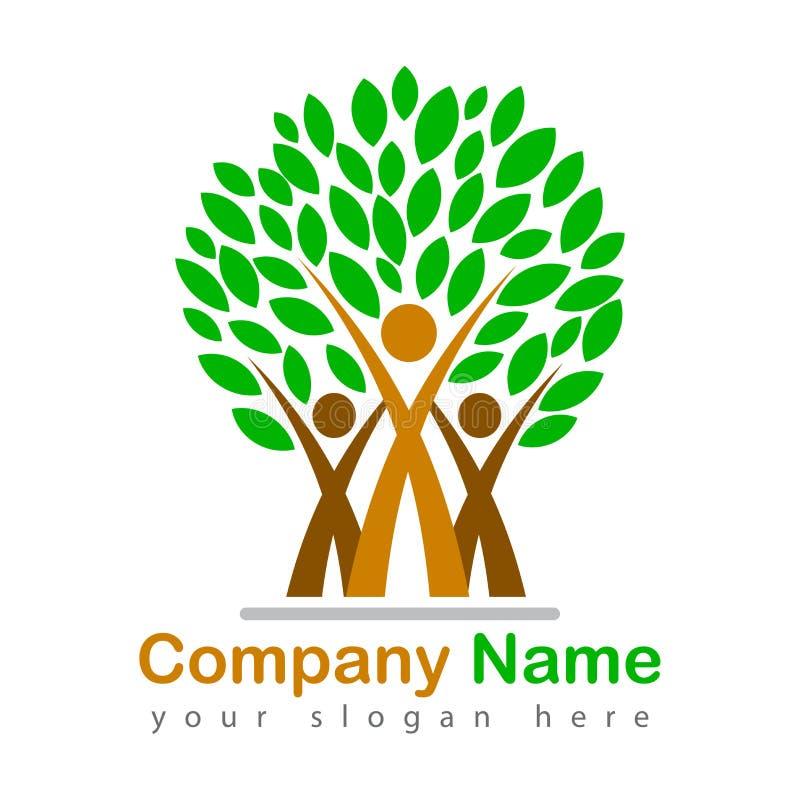 Szczęśliwa amily drzewna logo ilustracja royalty ilustracja