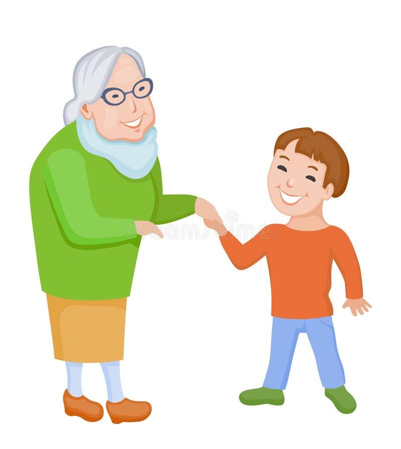 Szczęśliwa babcia i jej wnuk komunikujemy wpólnie ilustracja wektor