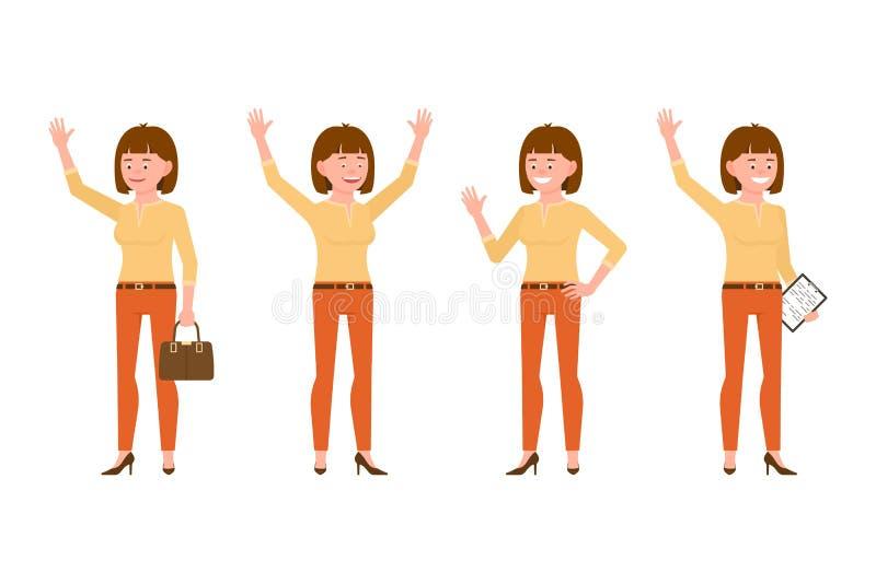 Szczęśliwa biurowa kobieta w pomarańcze, ono uśmiecha się, dyszy wektorową ilustrację Machać, mówić cześć, ręki w górę, stojący d ilustracja wektor