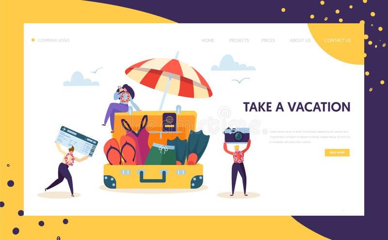 Szczęśliwa Biznesowa charakter paczka dla Urlopowej lądowanie strony Urzędnicy Rusza się Plażowa podróży mienia kamera ilustracja wektor