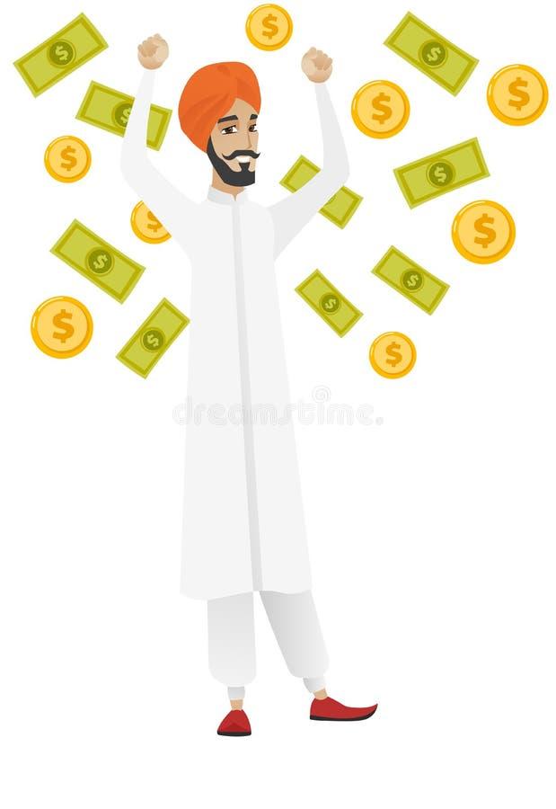 Szczęśliwa biznesowa kobieta pod pieniądze deszczem ilustracja wektor