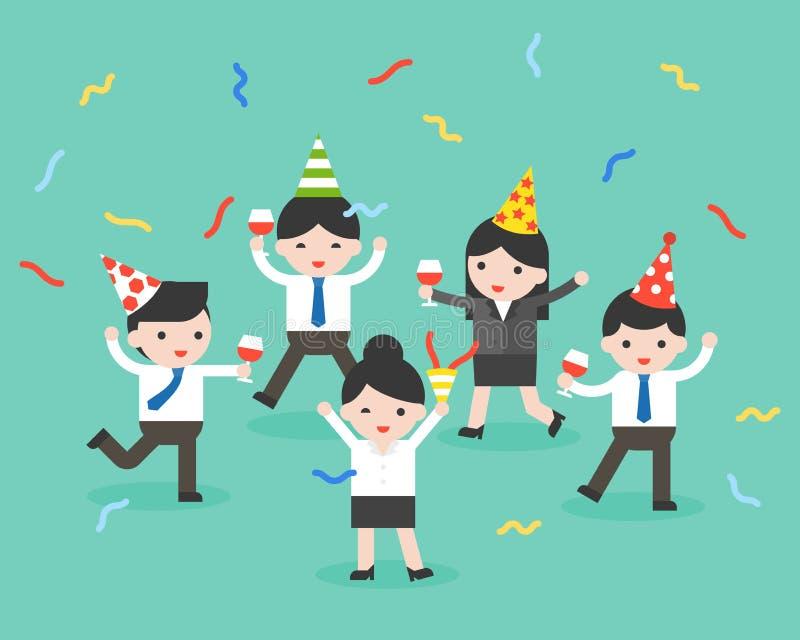 Szczęśliwa biznesowa osoba przy przyjęciem, świętowanie, wesoło boże narodzenia i royalty ilustracja
