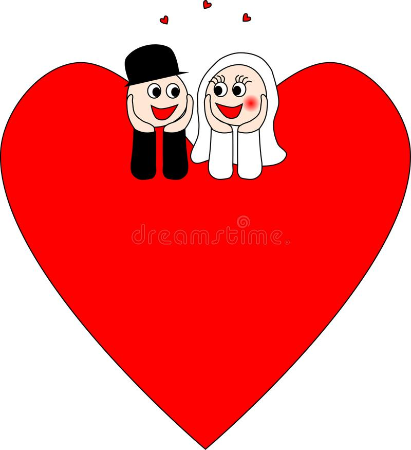 Szczęśliwa Bridal para z sercami ilustracja wektor