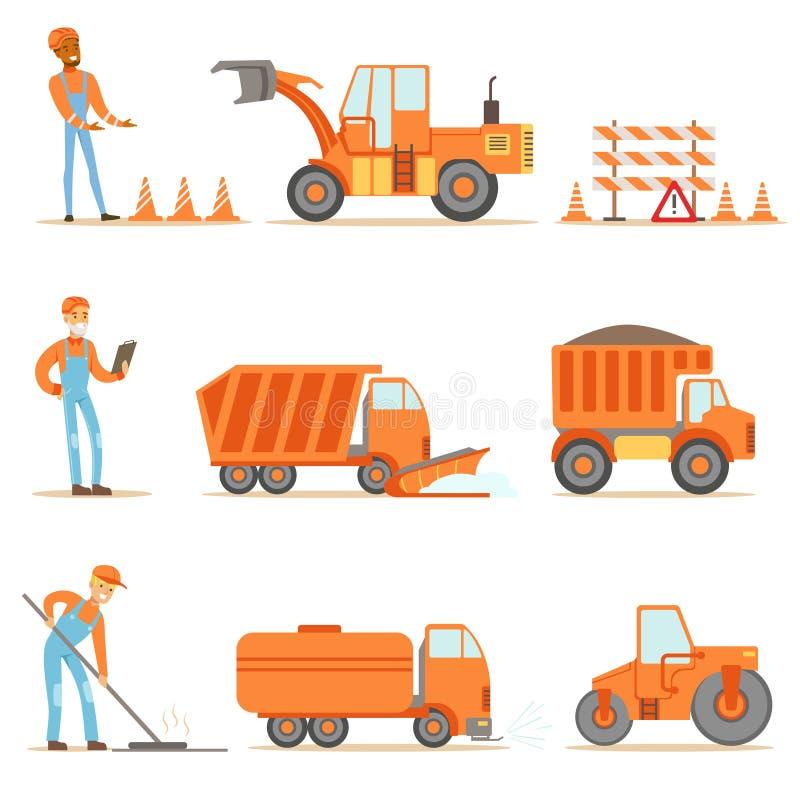 Szczęśliwa budowa drogi I Remontowi pracownicy W ciężarówkach Przy budową Ustawiającą kreskówek ilustracje Jednolitych I Ciężkich ilustracja wektor