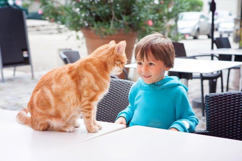 Szczęśliwa chłopiec, dziecko, bawić się z uroczym kotem outdoors obraz royalty free