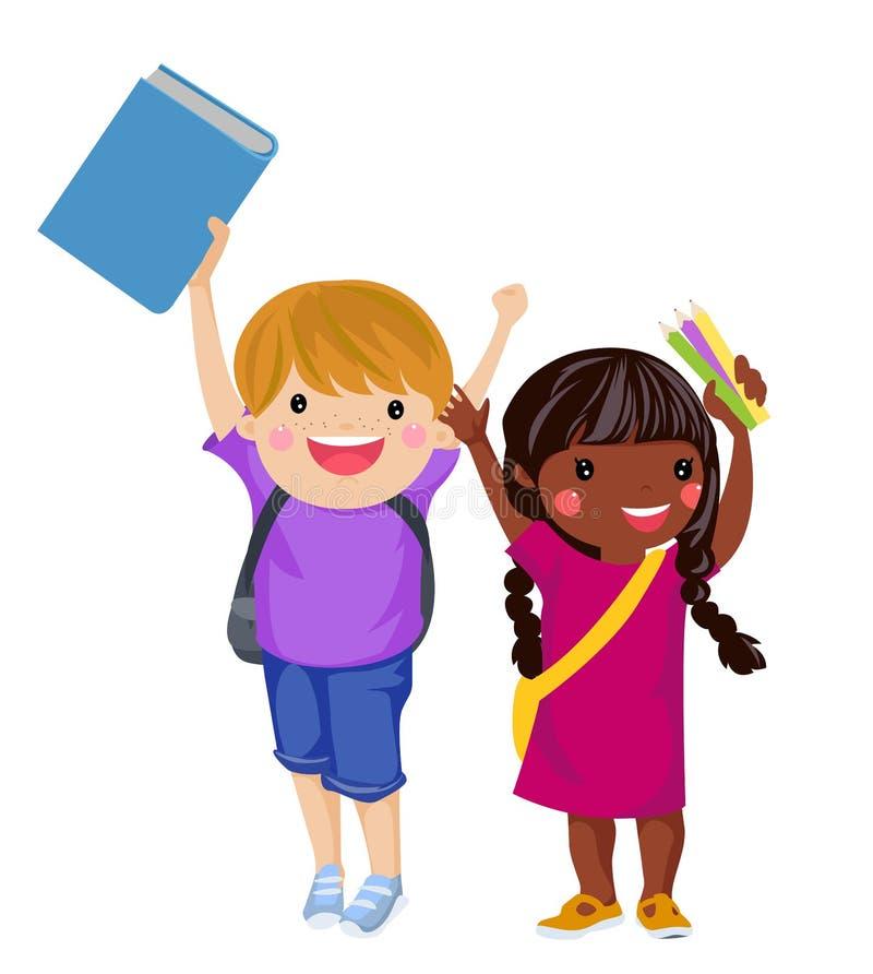Szczęśliwa chłopiec i dziewczyna przygotowywający iść z powrotem szkoła royalty ilustracja