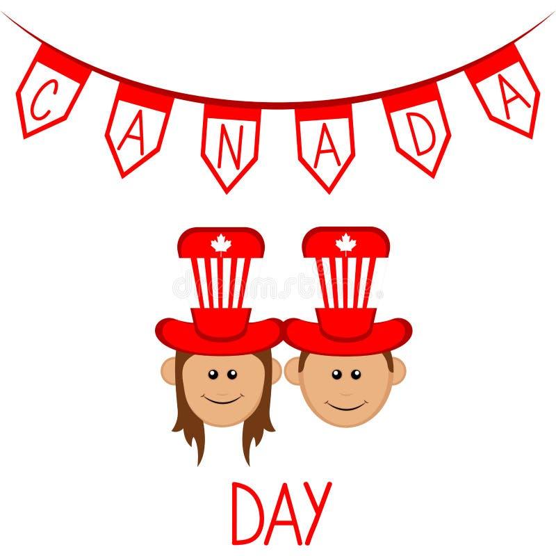 Szczęśliwa chłopiec i dziewczyna z partyjnymi kapeluszami zapina Canada dzień ikony ustawiać ilustracja wektor