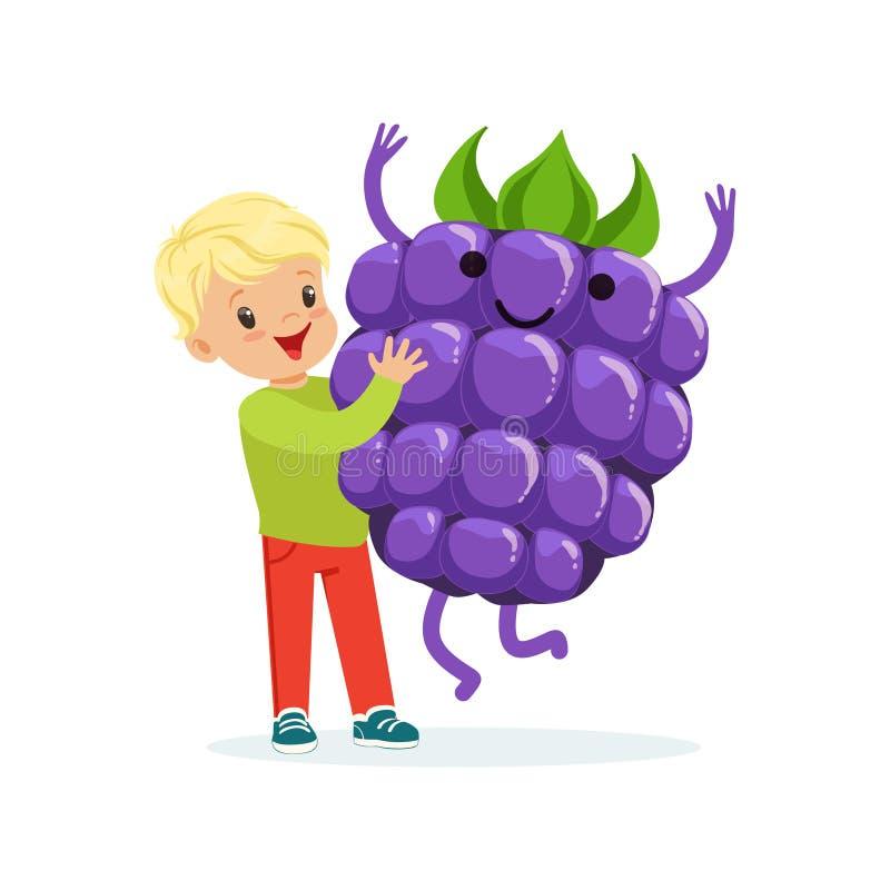 Szczęśliwa chłopiec ma zabawę z świeżą uśmiechniętą czernicą, zdrowy jedzenie dla dzieciaków charakterów wektoru kolorowej ilustr ilustracji