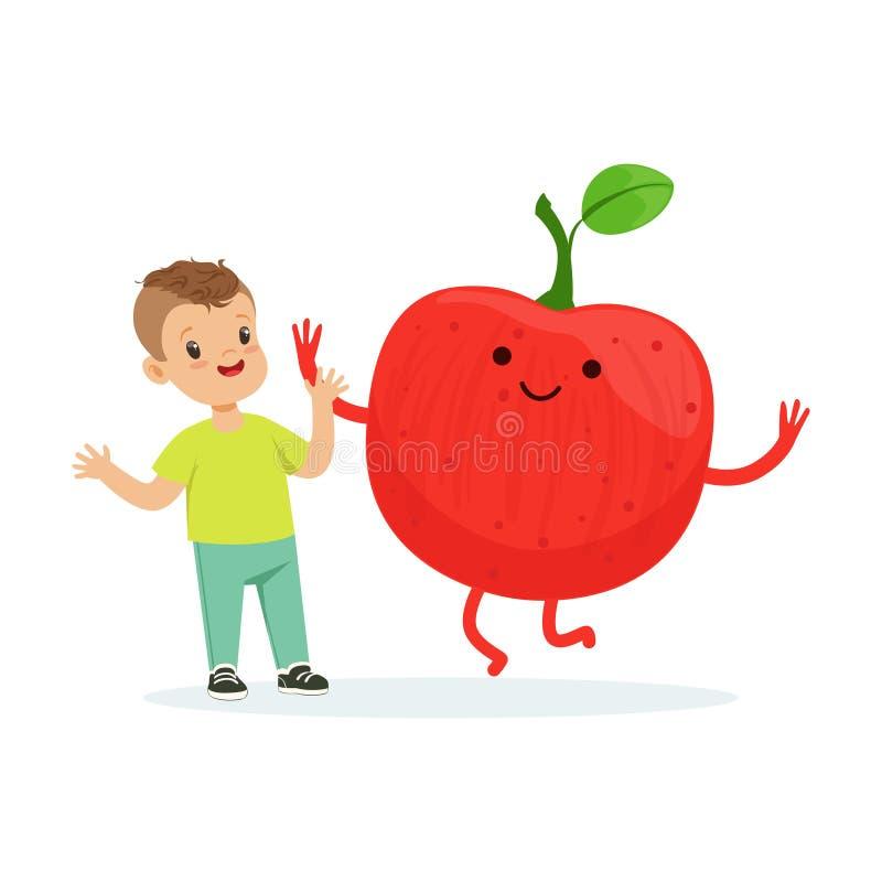 Szczęśliwa chłopiec ma zabawę z świeżą uśmiechniętą jabłczaną owoc, zdrowy jedzenie dla dzieciaków charakterów wektoru kolorowej  ilustracja wektor